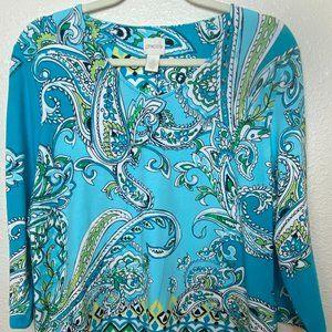 CHICO'S  Blue Paisley V Neckline T Shirt Tunic Top